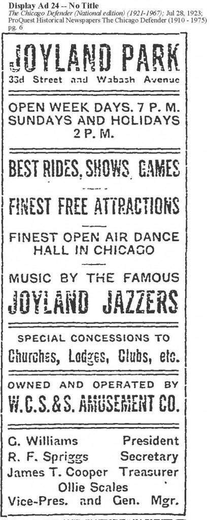 Ad for Joyland Park - Black Owned Amusement Park in Chicago