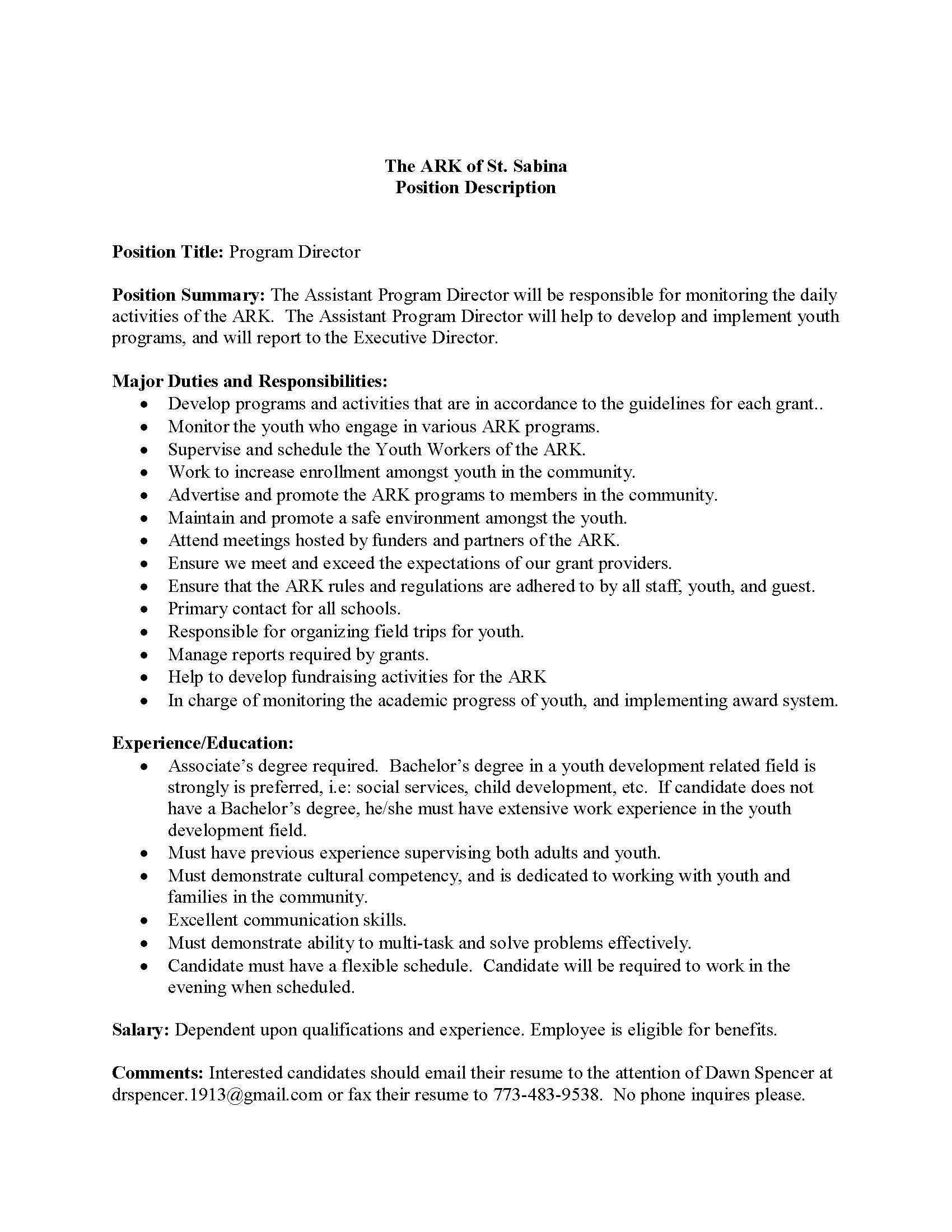 Assistant Program Director Position at The ARK of St Sabina – Assistant Director Job Description