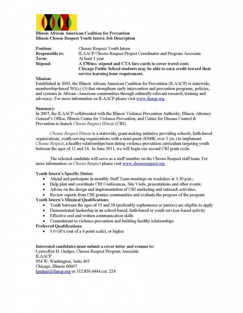 Illinois Choose Respect Youth Intern Job Description