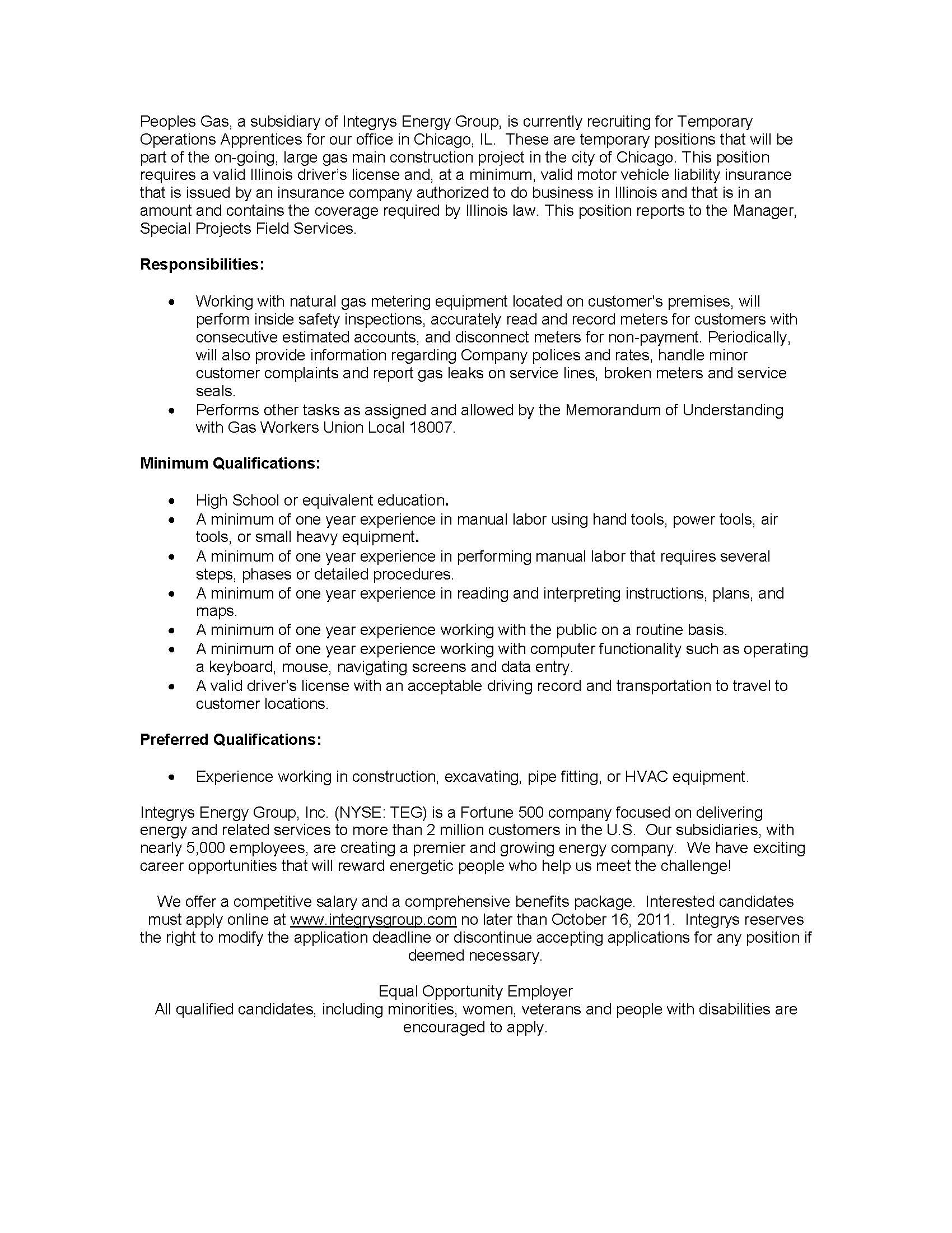 Luxury Integrys Energy Resume Frieze - Administrative Officer Cover ...